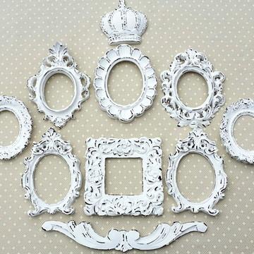 Kit 8 Espelhos Branco Provençal