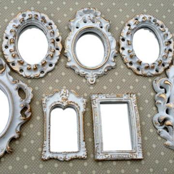 Kit 7 Espelhos Ouro Provençal