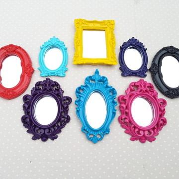 Kit 8 Espelhos Decorativos Coloridos