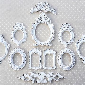 Kit 9 Espelhos Branco Provençal