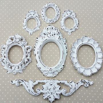 Kit 6 Espelhos Branco Provençal