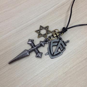 Colar masculino crucifixo estrela Davi