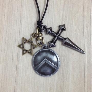 Colar masculino Cruz Escudo estrela Davi