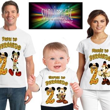 Kit 3 Camisetas Mickey Safari