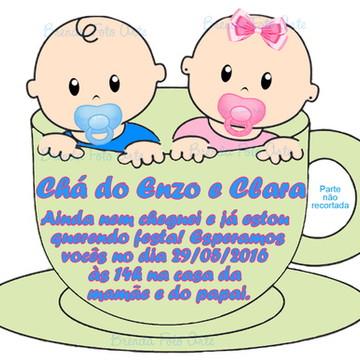 Convite Chá de Bebê Gêmeos Casal