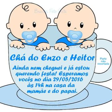 Convite Chá de Bebê Gêmeos na Xícara