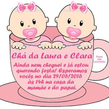 Convite Chá de Bebê Gêmeas na Xícara