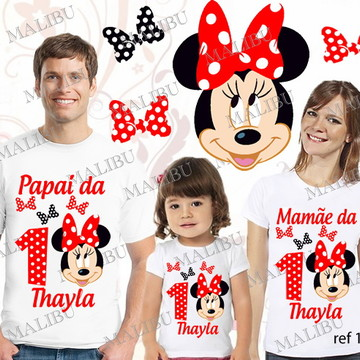 Kit Camiseta Aniversario Minnie Vermelha