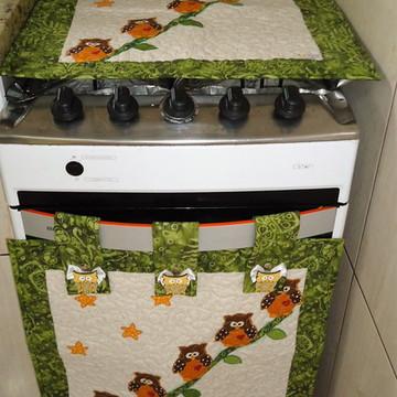 capa para fogão e forno coruja ( 4 bocas) *17*