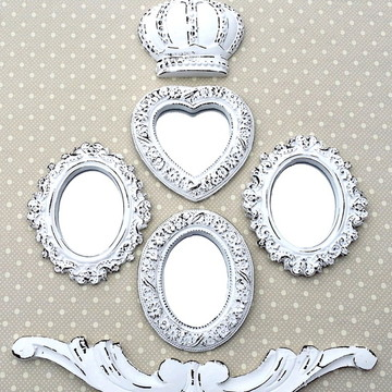 Kit 4 Espelhos Branco Provençal
