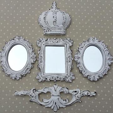 Kit 3 Espelhos Branco Provençal