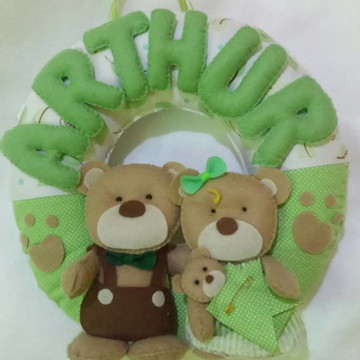 Enfeite Porta Maternidade Família Urso A