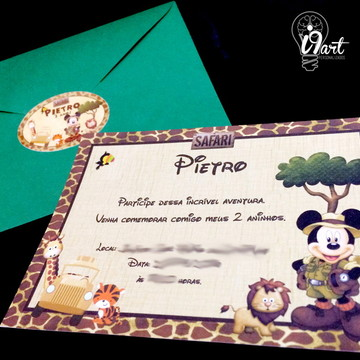 Convite Infantil - Safari do Mickey