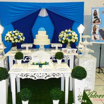 Aluguel Decoração Festa 15 Anos Azul Debutante aniversário