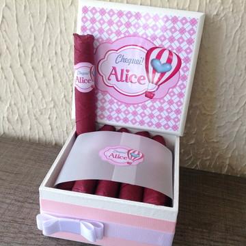 Mini Caixa Charutos Chocolate Balão Rosa