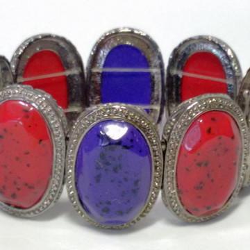 Bracelete Chaton Vermelho e Azul