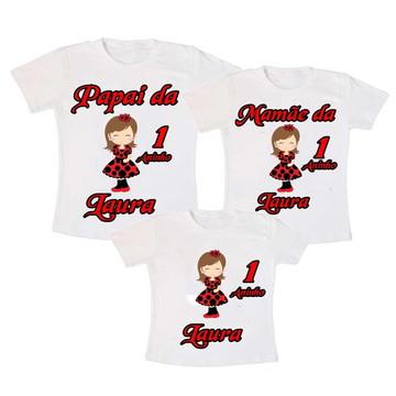 Kit 3 Camiseta Joaninha Aniversario