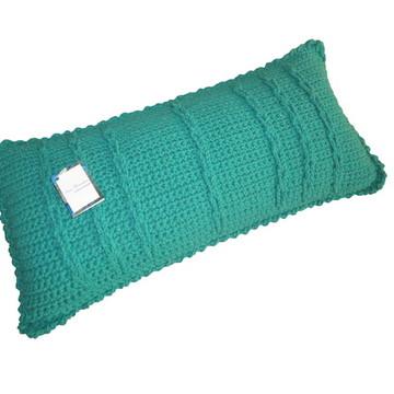 """Almofada verde turquesa de crochê """"Correntes"""""""