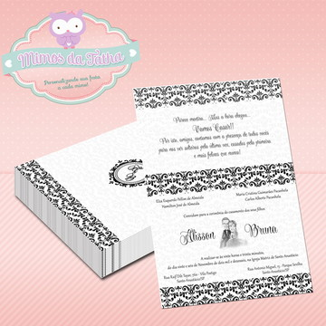 Convite Casamento Preto e Branco - DIGITAL