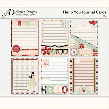 Kit Digital Helloy You Journal Cards