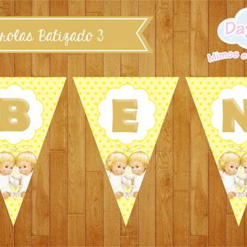 Bandeirolas Batizado - Anjinho Amarelo