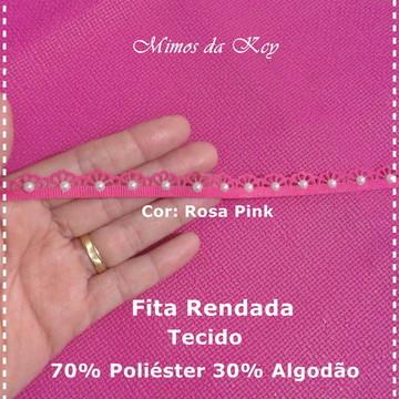 FITA RENDADA C/ MEIA PÉROLA. ROSA PINK