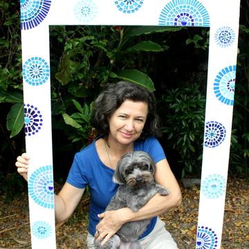 Moldura Espelho mosaico circulos azuis