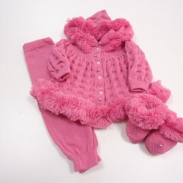 Conjunto esquimó de Bebê Lã Tricô