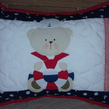 Almofada patchwork Urso Marinheiro