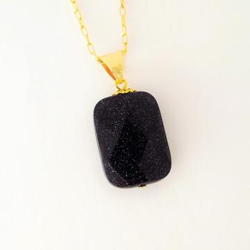 Colar Pedra das Estrelas Retangular Facetada F. OURO 18K.