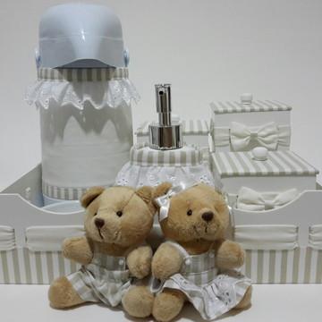 Pronta Entrega - Kit Higiene Casal Urso com Frasco Gel