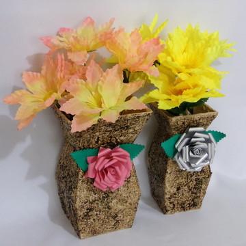 Vaso Decorativo com Rosas 2 Peças