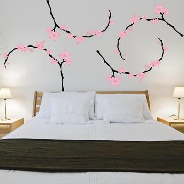 Adesivo Cabeceira de cama Casal Cerejeira
