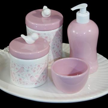 Conjunto Bandeja Oval e Potes Porcelana