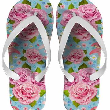 Chinelo Estampa Floral Rosa