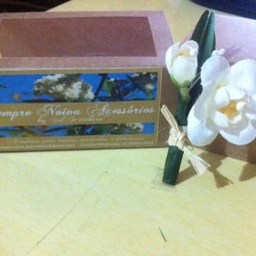 Flor para lapela noivos - Jasmim Branco