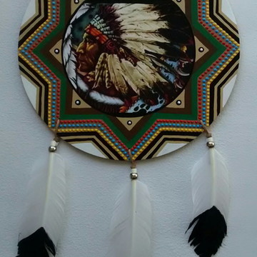 Mandala mdf Caboclo Pena Branca 30cm