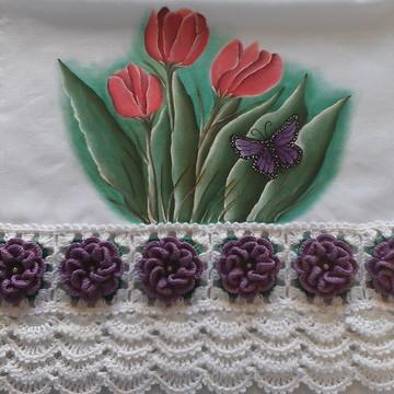 Pano de prato com flores.