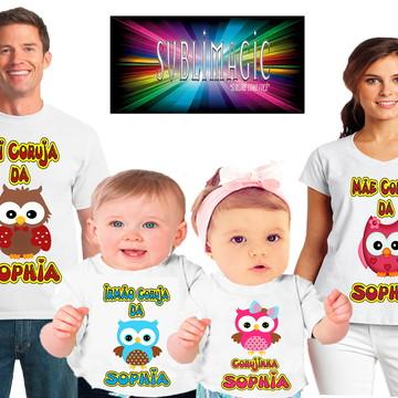 Kit 4 Camisetas Corujinhas