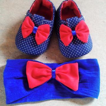 kit Sapatinho tecido + tiara