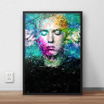 Quadro decorativo Eminem com moldura e vidro