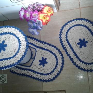 jogo de banheiro de Crochê 3 peças