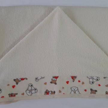 toalha de banho capuz para bebê bege 1