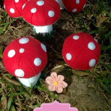 Kit 5 Cogumelos em Feltro