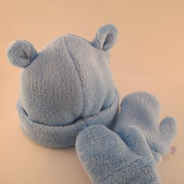 Kit Gorro e Luva soft Azul - 3M e 6M