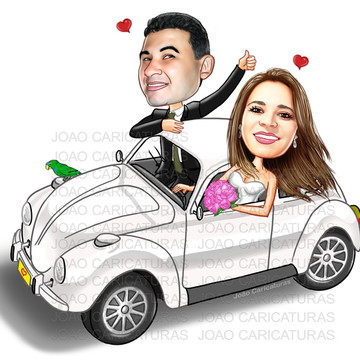 Caricatura digital de casamento-Tema fusca