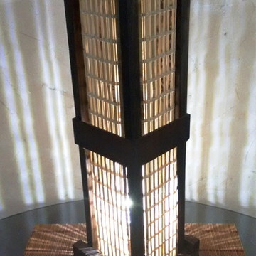 abajur luminária japones rústico bambu