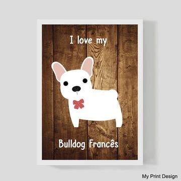 Quadro Bulldog Francês branco