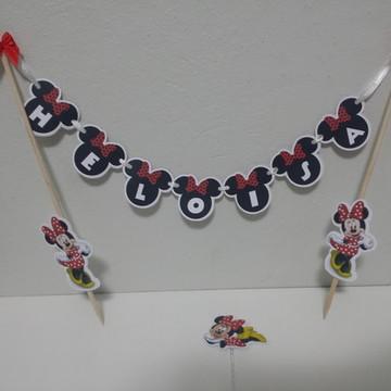 Topo de Bolo Bandeirinha Minnie