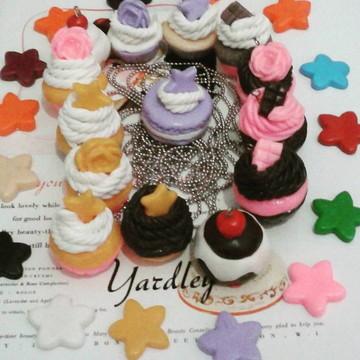 Mini Cupcakes - Colar e chaveiros